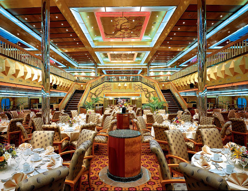Carnival-Glory-Golden-restaurant - Golden restaurant, one of Carnival Glory's two main dining halls, offers a diverse international menu.