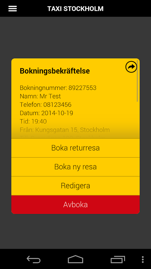 Taxi Sthlm - screenshot