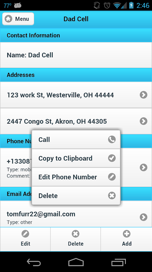 Ultimate Address Book- screenshot