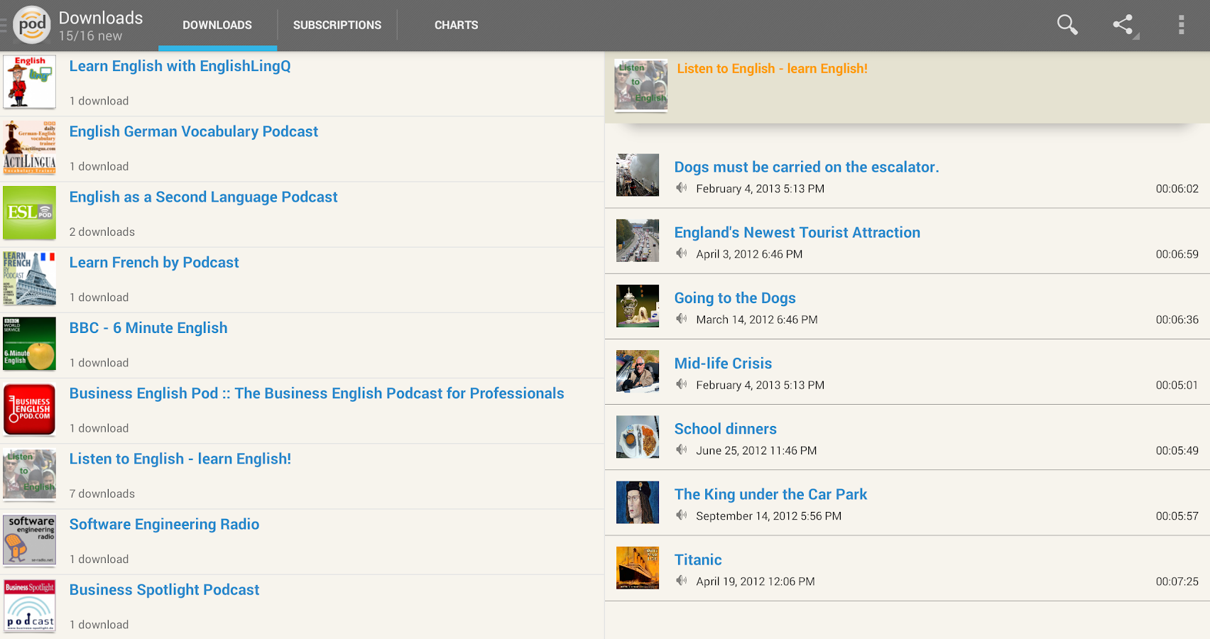 podKatcher - podcast downloads- screenshot