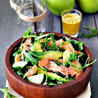 Smoked Salmon, Avocado and Rocket (Arugula) Salad.
