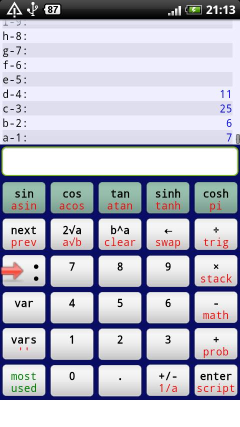 Droid RPN Calculator - screenshot