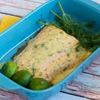 Creamy Dill Baked Salmon.