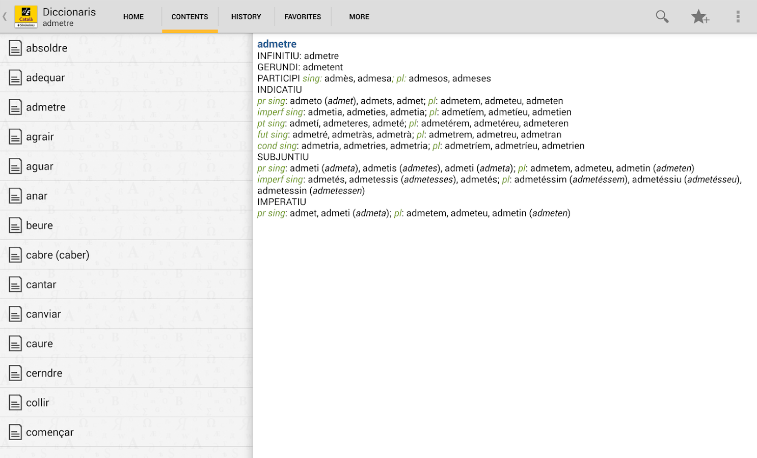 Catalan Dictionary / Thesaurus- screenshot