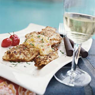 Pecan-crusted Trout with Peach-Habanero Chile Sauce.