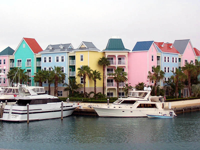 Along the waterfront on Paradise Island, the popular cruise destination in the Bahamas.
