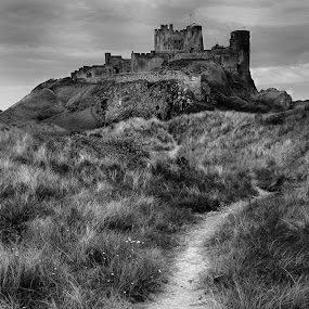 Bamburgh Castle by John Ash - Buildings & Architecture Public & Historical ( northumberland, black and white, bamburgh, castle )