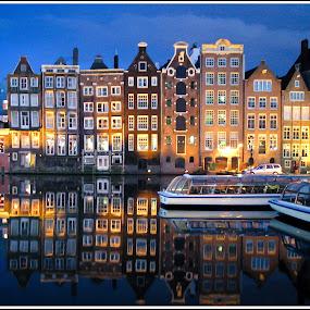 Evening In Amsterdam by Jebark Fineartphotography - Buildings & Architecture Other Exteriors ( water, buildings, reflections, amsterdam, architecture, city )