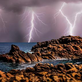 Canal Rocks Lightning storm by Craig Eccles - Landscapes Weather ( thunder, lightning strike, lightning, lightning storm, thunder bolt., waves, ocean, thunder storm, beach, storm, rocks )