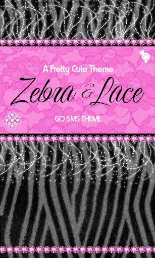 Pink Lace Zebra Theme GO SMS