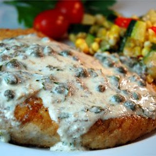Pan Fried Halibut Steak with Light Green Sauce.