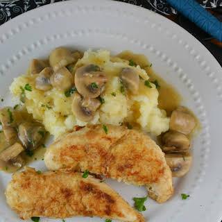 Pan Fried Chicken Tenderloins with Mushroom Gravy.