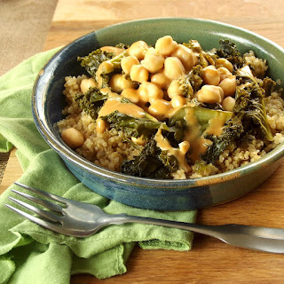 Tahini-Sriracha Dressed Kale and Chickpeas over Quinoa.