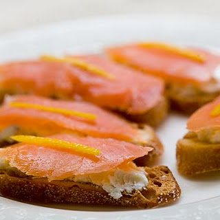 Smoked Salmon and Goat Cheese Toasts.