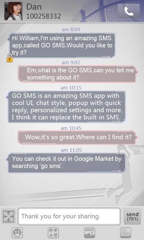 GO SMS Pro Basketball theme screenshot #2