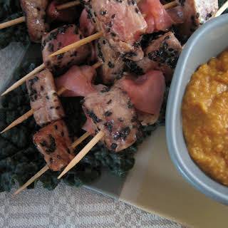 Black Sesame Tuna Skewers with Carrot-Miso Sauce.