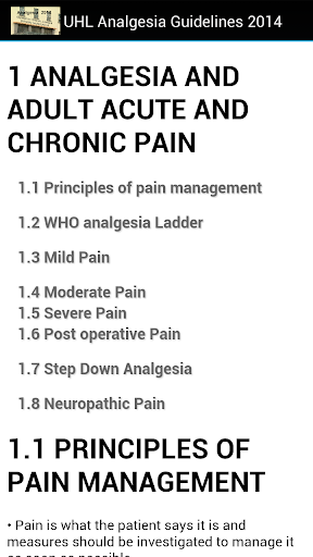 UHL Analgesia Guidelines 2014