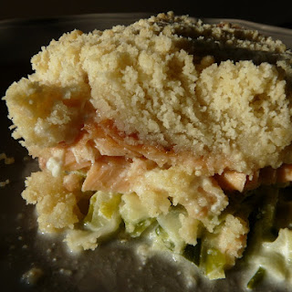 Salmon, Leek and Zuchinni Crumble