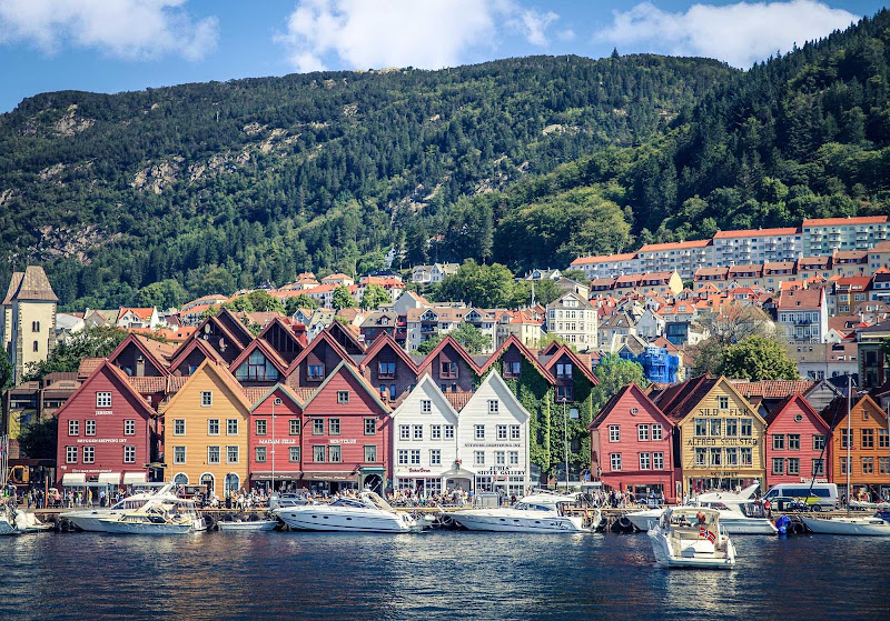Bryggen, on the fjord leading to Bergen, Norway.