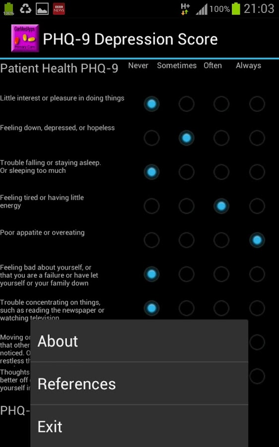 PHQ-9 Health Questionaire - screenshot