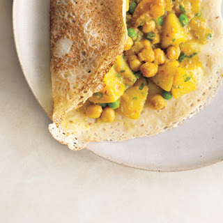 Rava Dosas with Potato Chickpea Masala