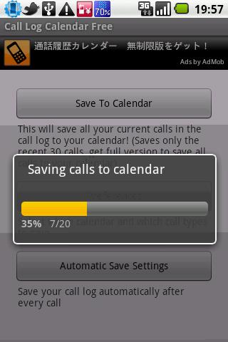 Call Log Calendar (Free/Trial) - screenshot