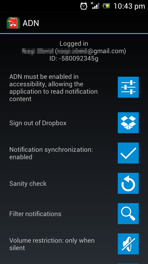 Android Dropbox Notifications - screenshot