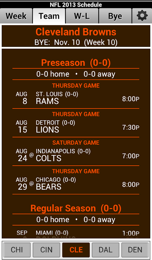 NFL 2013 Schedule - screenshot