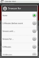 Screenshot of Calendar Snooze