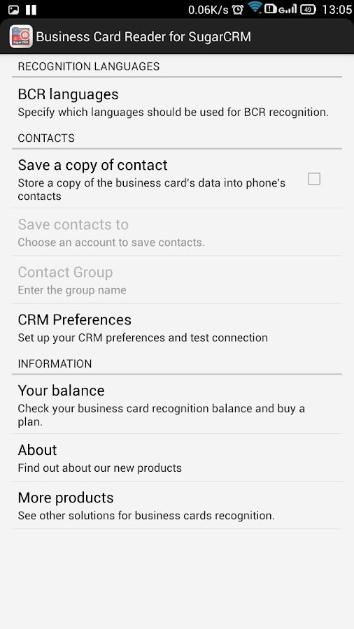 Free Business Card Scanner for SugarCRM- screenshot