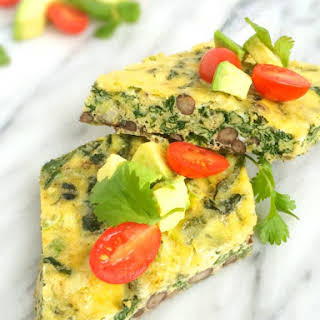 Mexican Egg Bake with Spinach, Black Beans and Cheese.