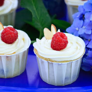 Blueberry and Raspberry Ricotta Almond Cupcake with Cream Cheese Frosting.