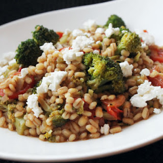 Skillet Barley with Broccoli, Feta and Tomatoes