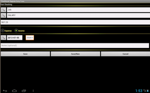 Checkbook Register - screenshot thumbnail