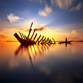 Bone of Boat by Made Suwita - Landscapes Waterscapes ( water, bali, sky, sunrise, boat )