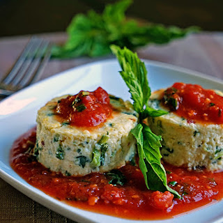 Slow Roasted Tomato and Spinach Polenta Cakes