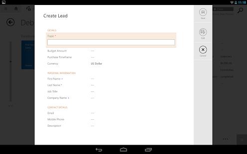 Dynamics CRM for tablets- screenshot thumbnail