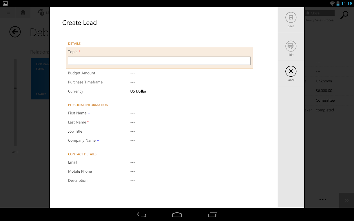 Dynamics CRM for tablets - screenshot