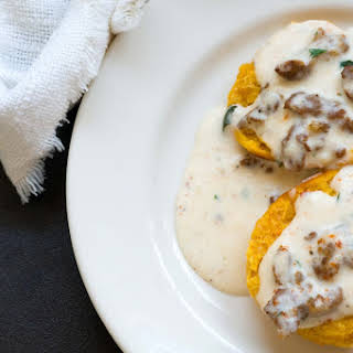 Sweet potato biscuits with chorizo cream gravy and Foodways Texas.