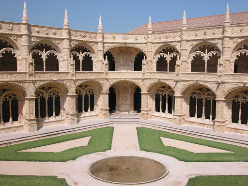 Cloister of the monastery dos Hieronymos in Lisbon, Portugal.