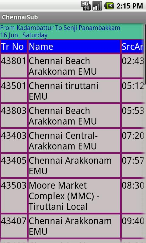 Chennai Suburban trains - screenshot
