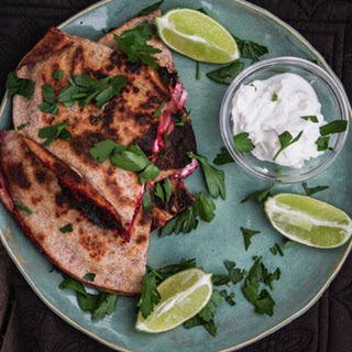 Beet and Goat Cheese Quesadillas with Beet Greens and Parsley Recipe