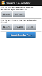 Recording Time Calculator - screenshot thumbnail