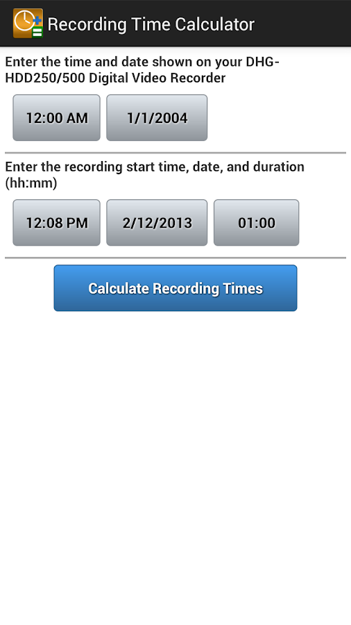 Recording Time Calculator- screenshot
