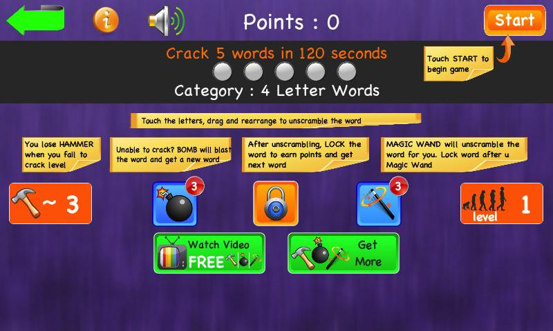 unscramble jumbled words games screenshot