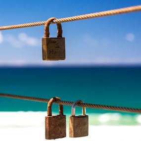 by Pat Kiellor - Artistic Objects Other Objects ( love, locks, beach, ballina )