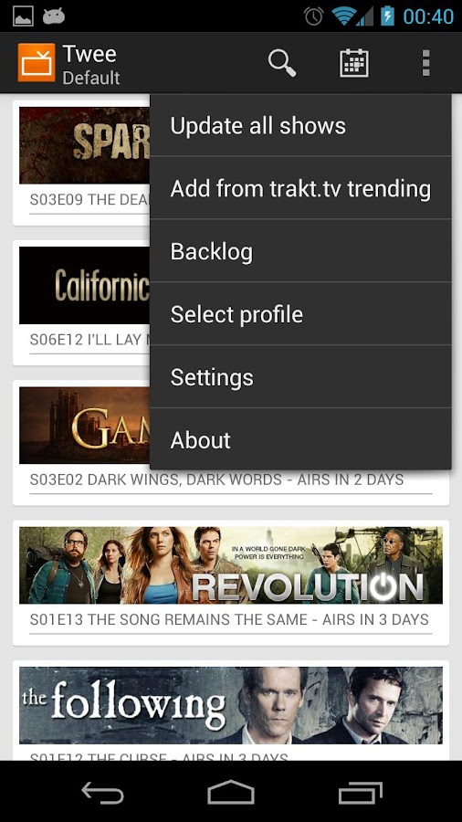 Twee - keep track of tv-series - screenshot