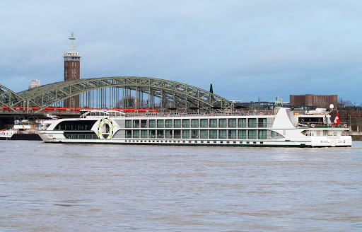 Tauck's 118-passenger Treasures river cruise ship, in Cologne, Germany. The ship,  launched in 2011, sails Europe's inland waterways.