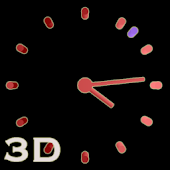 3D Cool Red Analog Clock