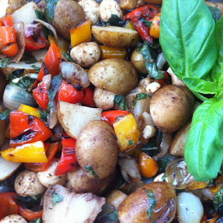 Roast Pepper Potato Salad with Basil and Pearl Mozzarella